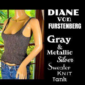 🆕DVF▪️Gray & Metallic Silver Sweater Knit Tank